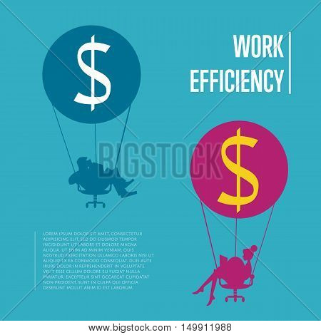 Silhouettes of business people flying on hot air balloon with office chair instead of basket. Work efficiency banner, isolated vector illustration. Abstract work smarter concept. Time is money idea