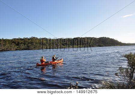 WALPOLE,WA,AUSTRALIA-OCTOBER 3,2014: People canoeing on the peaceful Walpole River bordered by forest in Walpole, Western Australia.