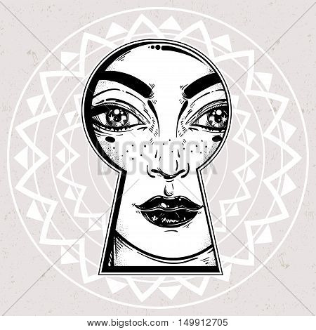Beautiful girl peeping through the keyhole. Graphic outline drawing in Noir retro style. Isolated vector illustration. Vintage, t-shirt, secrets, tattoo, coloring books. Trendy print.