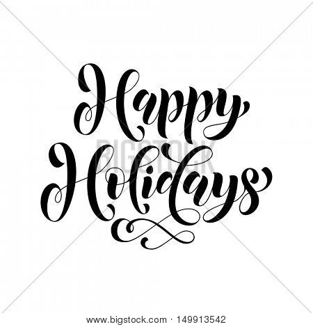 Happy Holidays Gold glitter ornate black lettering for greeting card or invitations to celebrate Christmas, New Year. Hand drawn text. Vector illustration