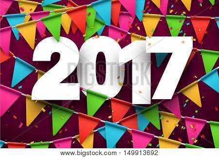 2017 year pink background with colour flags and confetti. Vector illustration.