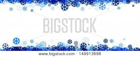 White winter banner with blue snowflakes. Vector illustration.