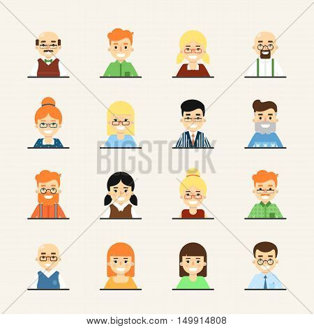 Various smiling cartoon faces, icons set. Group of cute happy diverse business people, vector illustrations isolated on white background. Avatars collection in flat design