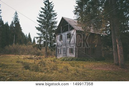 Old abandoned wooden house in the forest.