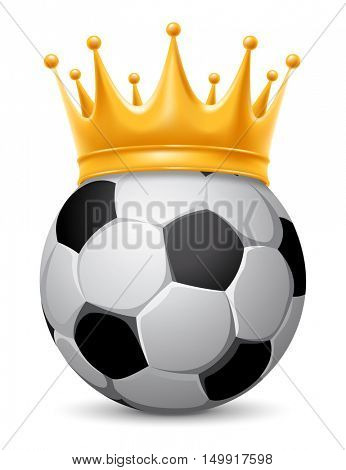 Soccer Ball in Golden Royal Crown. Concept of success in football sport. Soccer - king of sport. Realistic Stock Vector Illustration. Isolated on White Background.