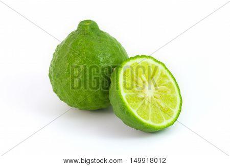 Kaffir lime isolated on white makrut lime Mauritius papeda