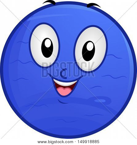 Illustration of a Neptune Mascot Featuring a Smiling Blue Planet with a Watery Surface