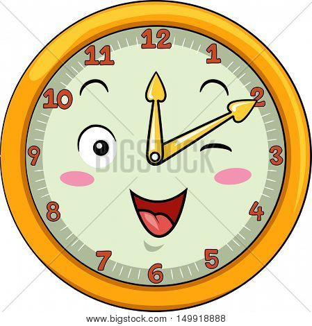 Mascot Illustration of a Smiling Clock with its Hands Pointing to the Numbers Twelve and Two