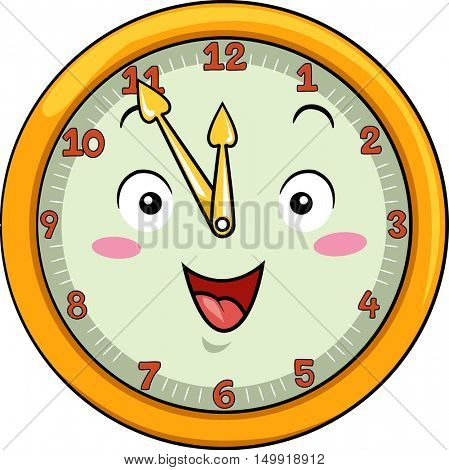 Mascot Illustration of a Smiling Clock with its Hands Pointing to the Numbers Twelve and Eleven
