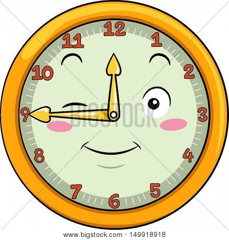 Mascot Illustration of a Smiling Clock with its Hands Pointing to the Numbers Twelve and Nine