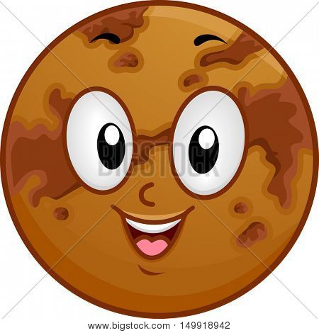 Illustration of a Venus Mascot Featuring a Smiling Brown Planet Covered with Dark Spots
