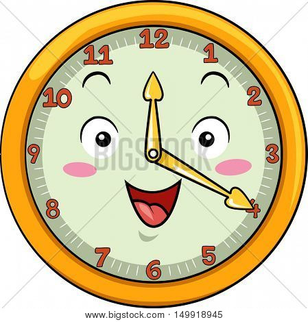 Mascot Illustration of a Smiling Clock with its Hands Pointing to the Numbers Twelve and Four