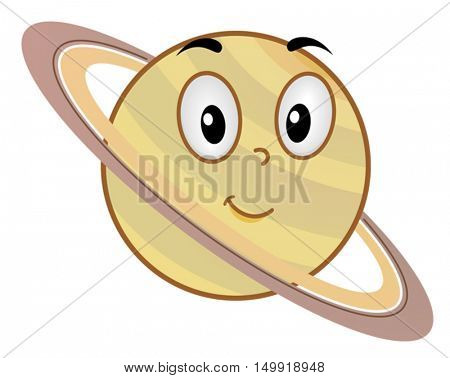 Illustration of a Saturn Mascot Featuring a Smiling Yellow Planet Enveloped by Large Rings