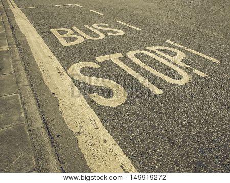 Vintage Looking Bus Stop Sign