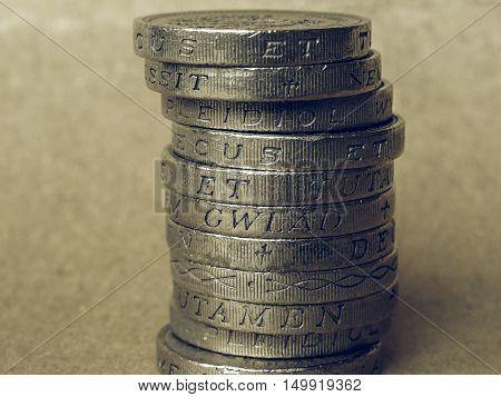 Vintage Pound Coins Pile