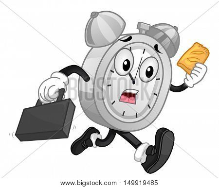 Mascot Illustration of a Panicking Analog Alarm Clock Eating a Piece of Pie While Running