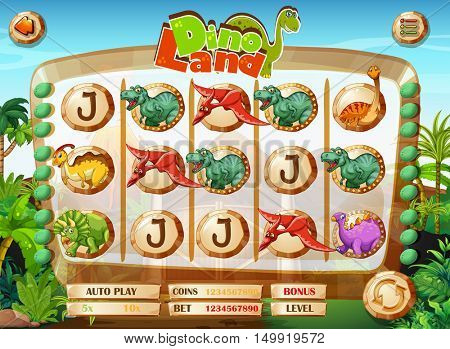 Slot game template with dinosaur characters illustration