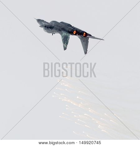 Leeuwarden, The Netherlands - June 11, 2016: Slovak Air Force Mig-29 Fulcrum Firing Off Flares Durin
