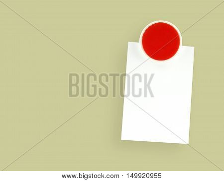 fridge magnet with blank note on yellow background