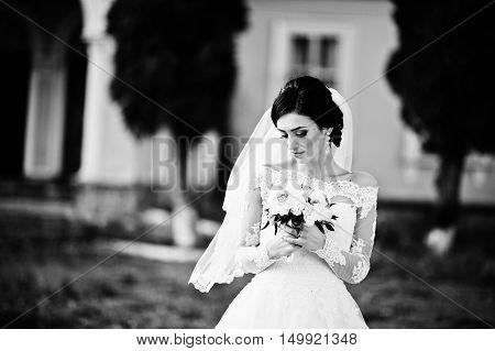 Stylish Brunette Bride Near Old Vintage Pink House With Columns