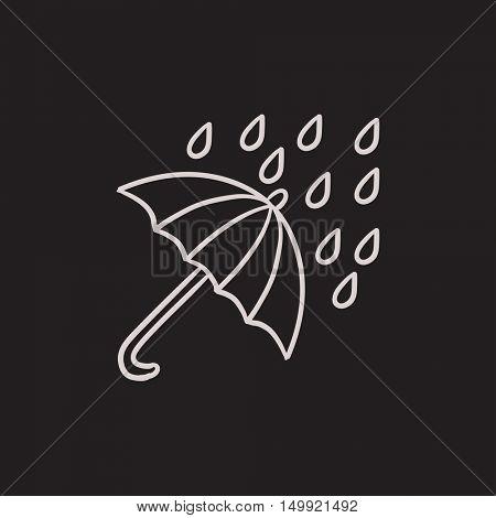 Rain and umbrella vector sketch icon isolated on background. Hand drawn Rain and umbrella icon. Rain and umbrella sketch icon for infographic, website or app.