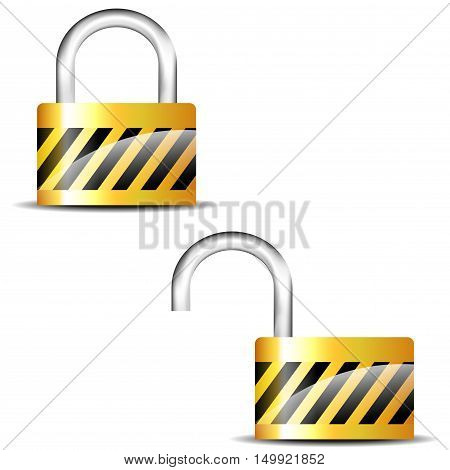 Illustration of padlock close and padlock open