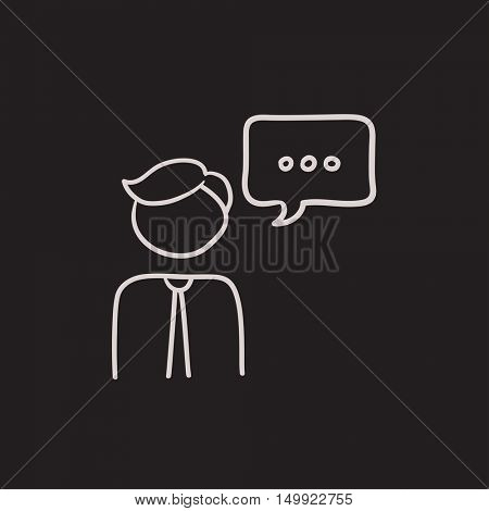 Man with speech square vector sketch icon isolated on background. Hand drawn Man with speech square icon. Man with speech square sketch icon for infographic, website or app.