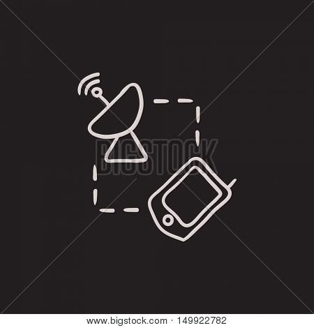 Navigator and satellite dish vector sketch icon isolated on background. Hand drawn Navigator and satellite dish icon. Navigator and satellite dish sketch icon for infographic, website or app.