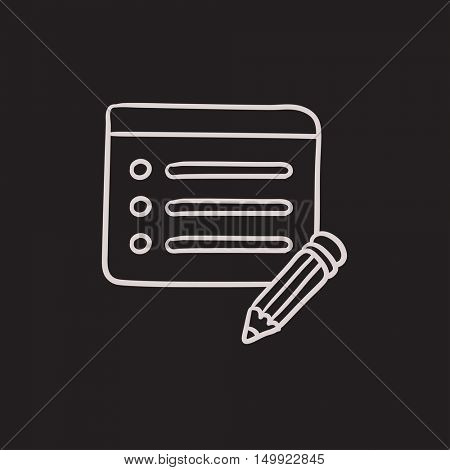 Taking note vector sketch icon isolated on background. Hand drawn Taking note icon. Taking note sketch icon for infographic, website or app.