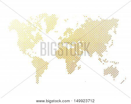 World map of yellow dots on white background in corss arrangement. Map of world silhouette flat halftone vector theme.