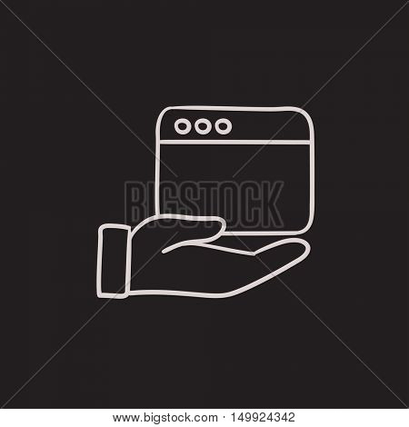Hand holding browser window vector sketch icon isolated on background. Hand drawn Hand holding browser window icon. Hand holding browser window sketch icon for infographic, website or app.