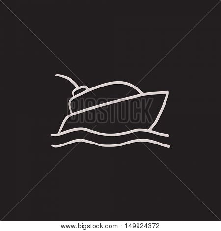 Yacht vector sketch icon isolated on background. Hand drawn Yacht icon. Yacht sketch icon for infographic, website or app.