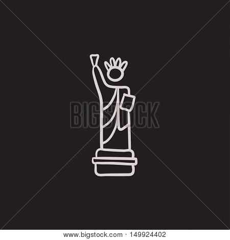 Statue of Liberty vector sketch icon isolated on background. Hand drawn Statue of Liberty icon. Statue of Liberty sketch icon for infographic, website or app.