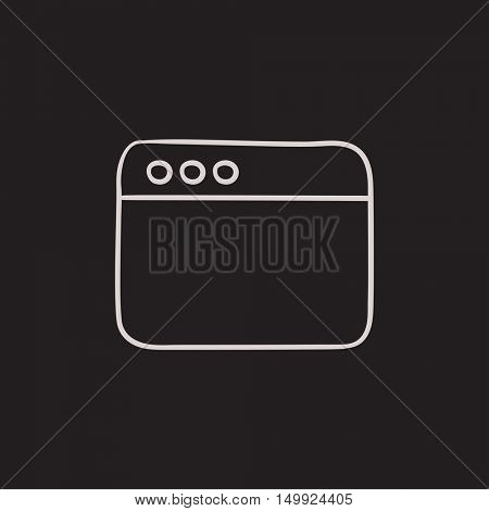 Blank window of internet browser vector sketch icon isolated on background. Hand drawn Blank window of internet browser icon. Window of internet browser sketch icon for infographic, website or app.