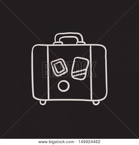 Suitcase vector sketch icon isolated on background. Hand drawn Suitcase icon. Suitcase sketch icon for infographic, website or app.