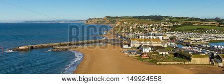 West Bay Dorset England uk panoramic view on a beautiful day with blue sky and sea