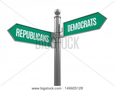 Democrat and republican signpost isolated on white - 3d rendering