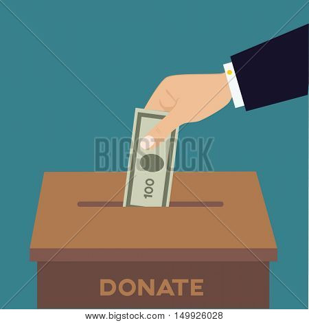 Hand putting money bill in to the donation box. Flat vector illustration.