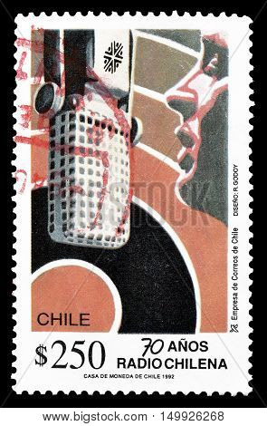 CHILE - CIRCA 1992 : Cancelled postage stamp printed by Chile, that shows Radio station.