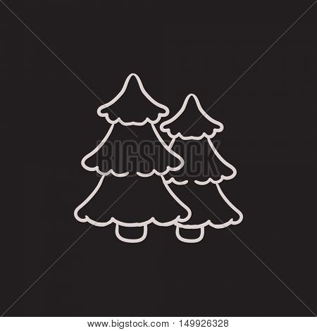 Pine trees vector sketch icon isolated on background. Hand drawn Pine trees icon. Pine trees sketch icon for infographic, website or app.