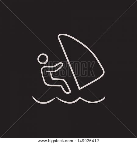 Wind surfing vector sketch icon isolated on background. Hand drawn Wind surfing icon. Wind surfing sketch icon for infographic, website or app.