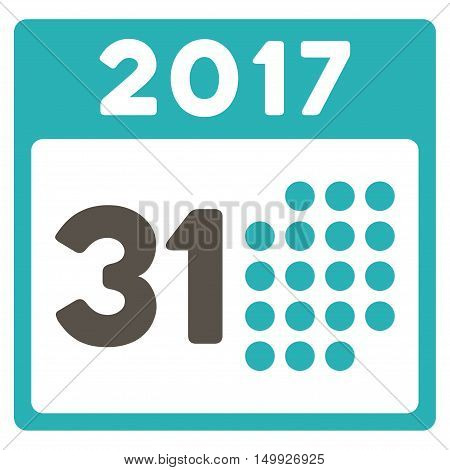Last 2017 Month Day vector pictograph. Style is flat graphic symbol, grey and cyan colors, white background.
