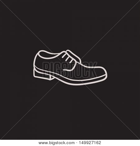 Shoe with shoelaces vector sketch icon isolated on background. Hand drawn Shoe with shoelaces icon. Shoe with shoelaces sketch icon for infographic, website or app.