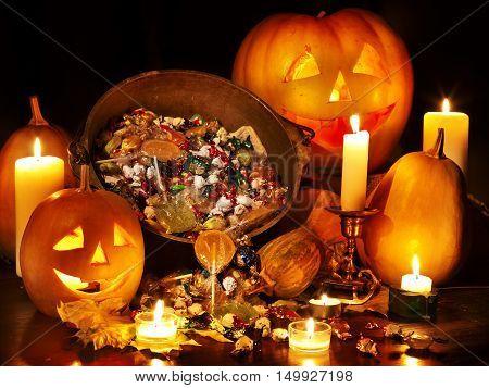 Halloween pumpkin lantern. Trick or treat background