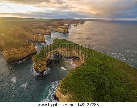 Aerial View Of Mutton Bird Island Arches At Sunrise
