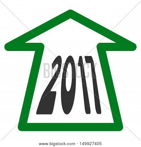 2017 Ahead Arrow vector pictograph. Style is flat graphic symbol, green and gray colors, white background.