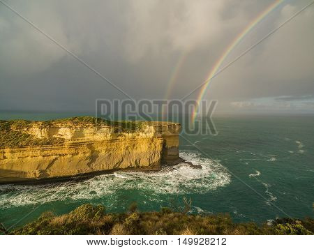 Aerial View Of Double Rainbow Over Cliff, Australia