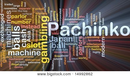 Background concept wordcloud illustration of pachinko japanese gambling glowing light