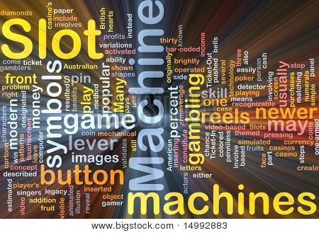poster of Background concept wordcloud illustration of slot machine gambling glowing light