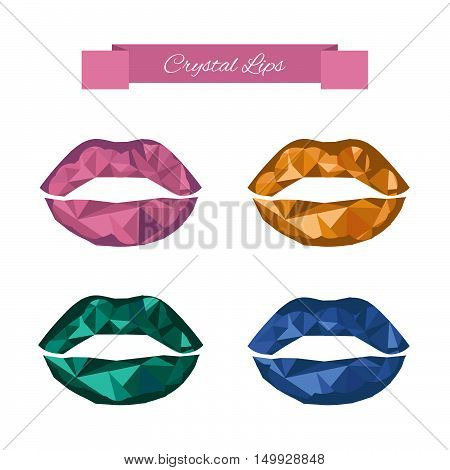 Crystal lips set in low polygon style. Modern lips makeup. Mineral lips in geometric style. Vector illustration.